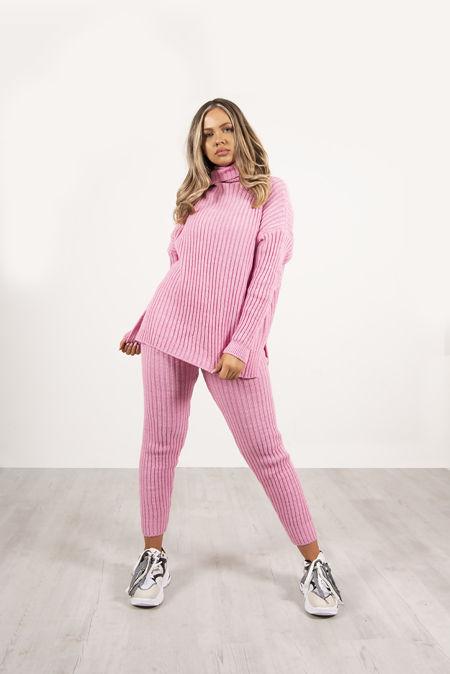 Pink Rib Knit Roll Neck Oversized Lounge Set