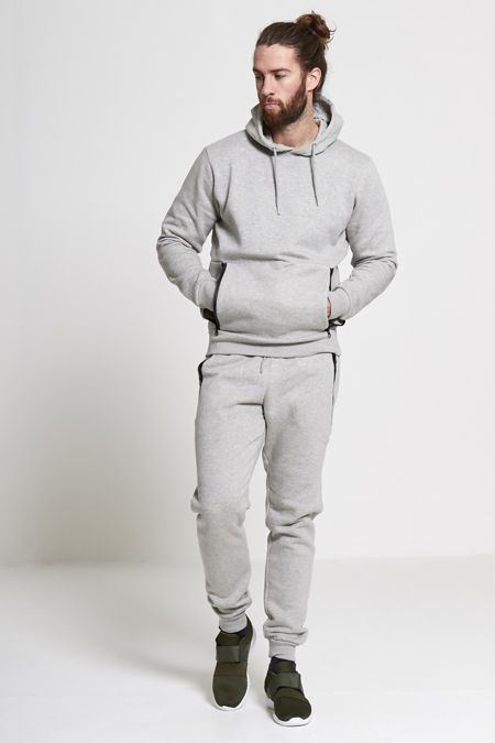 Grey Skinny Fit Pullover Tracksuit