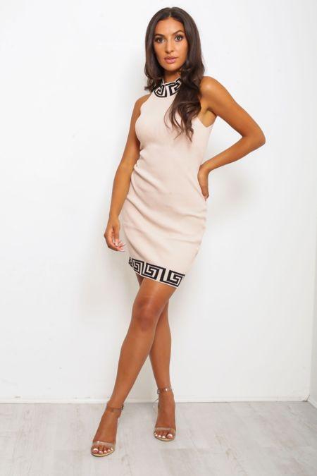 Beige Geometric Trim Ribbed Bodycon Dress