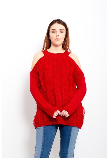 Feather Tassel Cold Shoulder Jumper