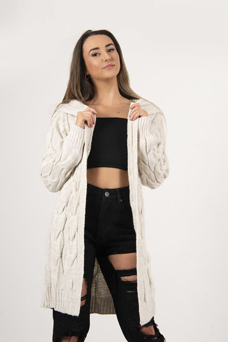 Beige Cable Knit Hood Cardigan