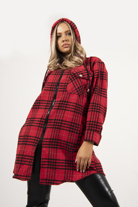 Red And Black Plaid Hooded Shacket