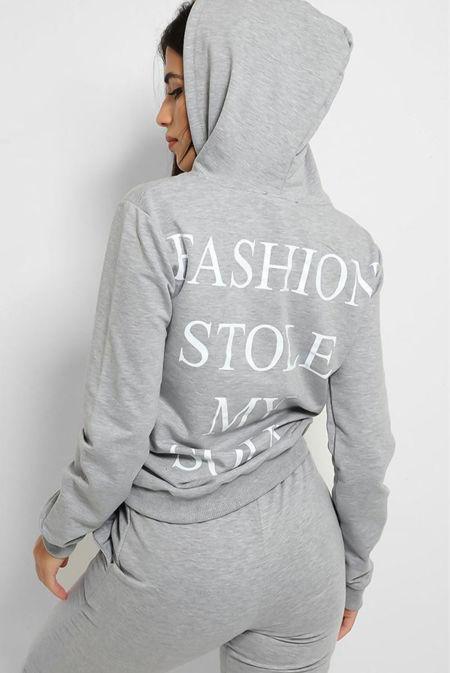 Plus Size Grey Fashion Stole My Soul Hooded Lounge Set