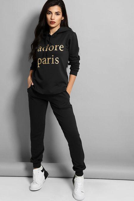 Plus Size Black Jadore Paris Hooded Lounge Set