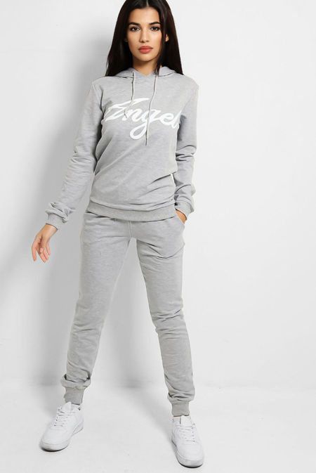 Plus Size Grey Angle Hooded Tracksuit