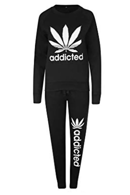 Black Addicted Leaf Print Tracksuit