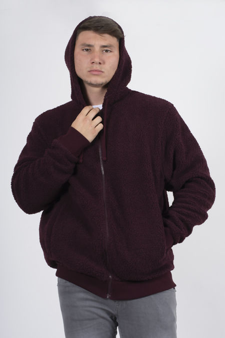 Wine Zip Through Hooded Teddy Jacket