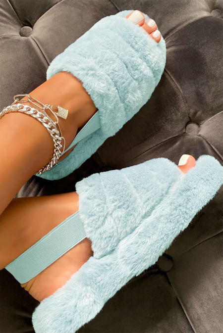 Baby Blue Faux Fur Fluffy Stripe Slipper