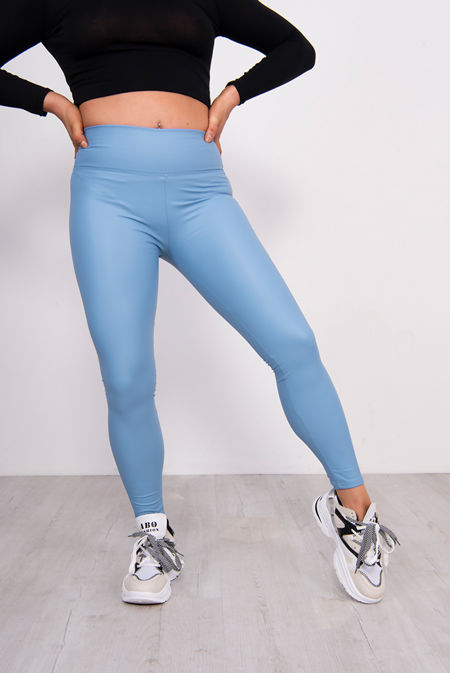 Baby Blue Leather Look High Waist Leggings