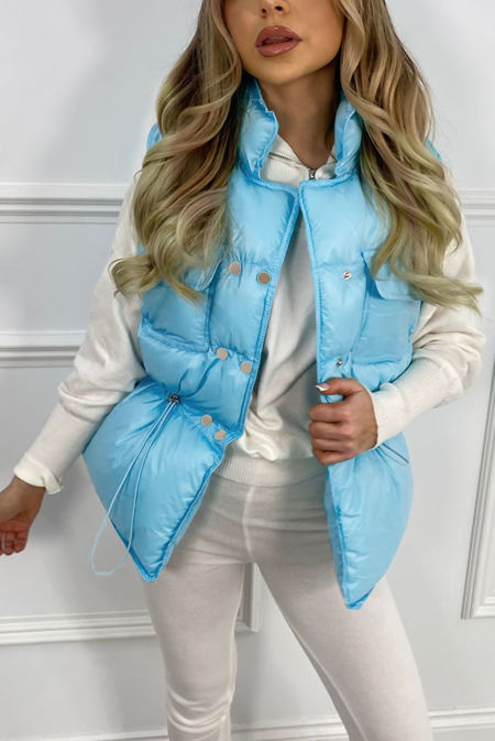 Baby Blue Pocket Front Puffer Gilet