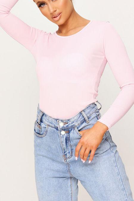 Baby Pink Crew Long Sleeve Bodysuit