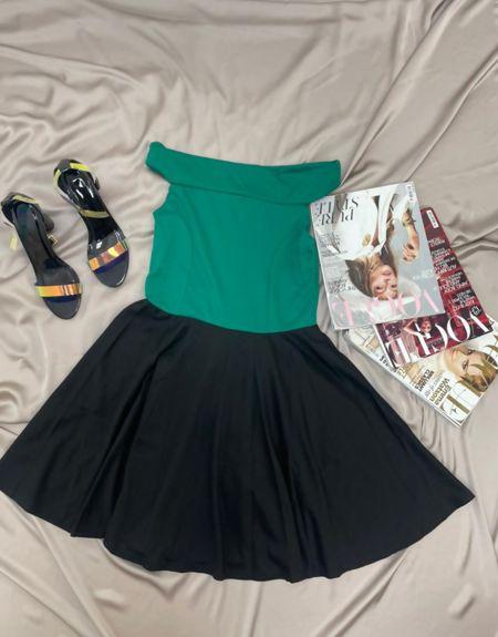 Green Bardot Skater Dress