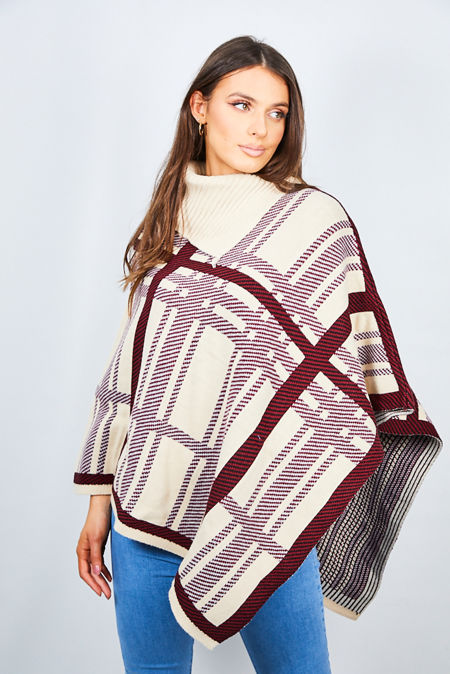 Beige Checked Knitted Poncho