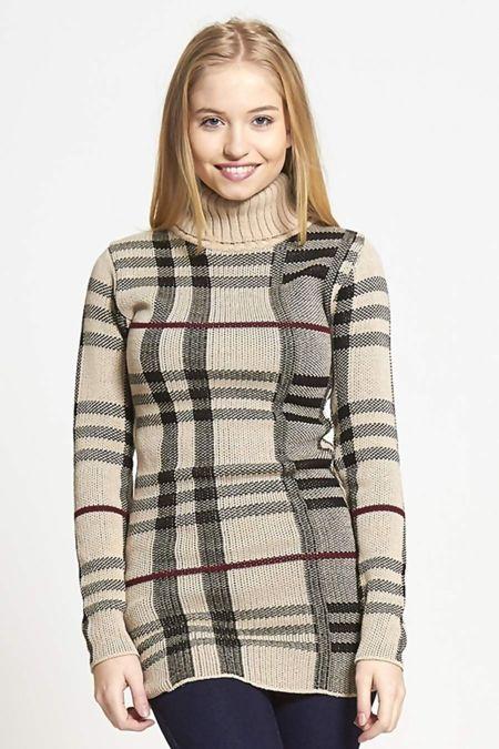 Beige Cowl Neck Long Sleeve Tartan Knitted Dress