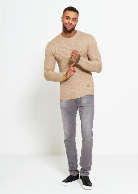 Beige Fisherman Knitted Jumper