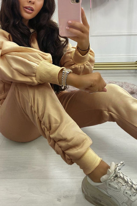 Beige Fleece Lined Ruched Ankle Joggers