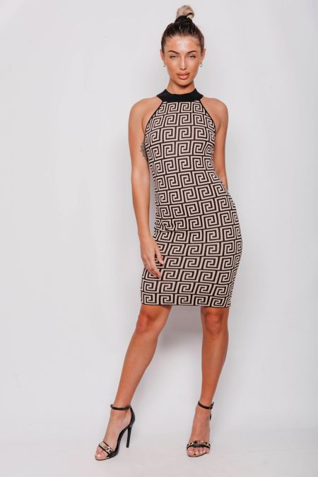 Beige Greek Print Bodycon Dress