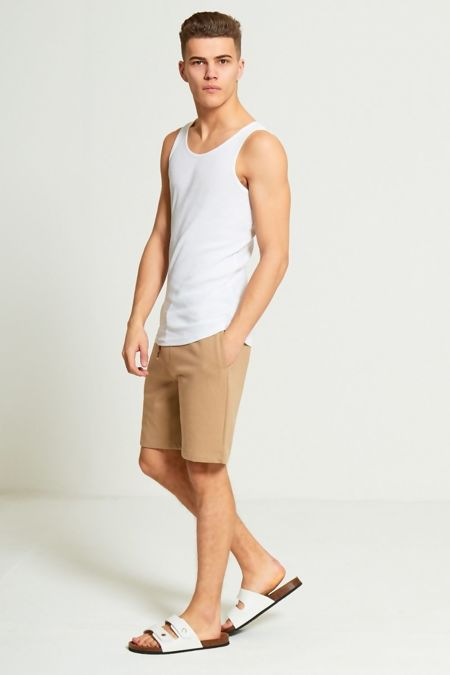 Beige Jersey Sweat Shorts