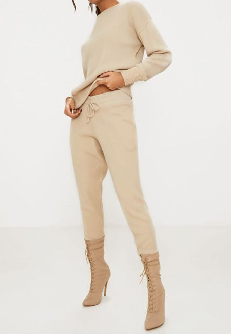 Beige Lounge Wear Knitted Set