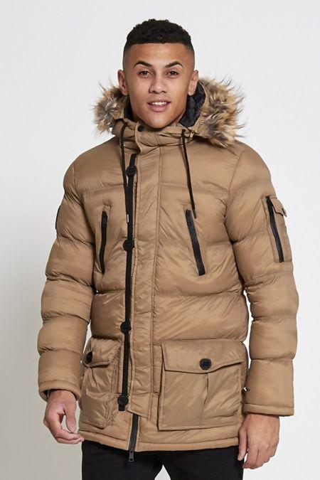 Beige Parka Jacket With Faux Fur Hood