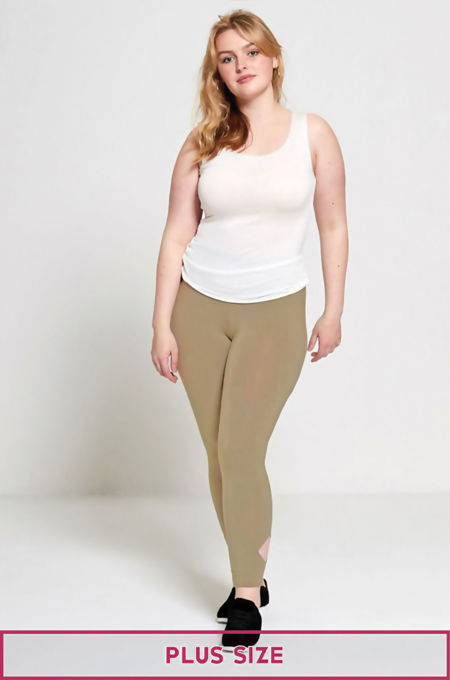 Beige Plus Size Laser Cut Leggings