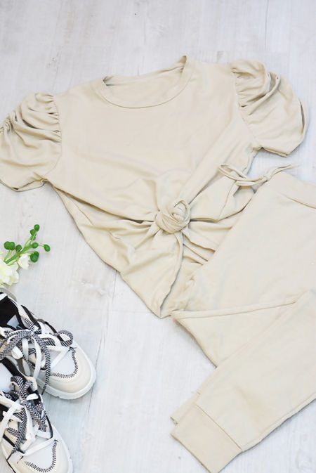 Beige Puff Sleeve Top And Trouser Lounge Set