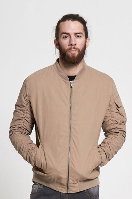 Beige Ruched Sleeve Bomber Jacket