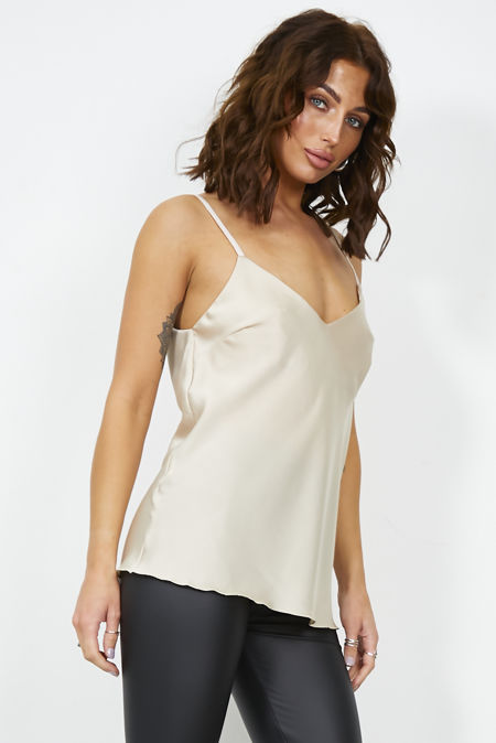 Beige Satin Cami Top