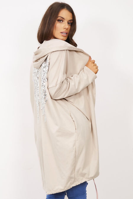 Beige Sequin Angel Wing Hooded Cardigan