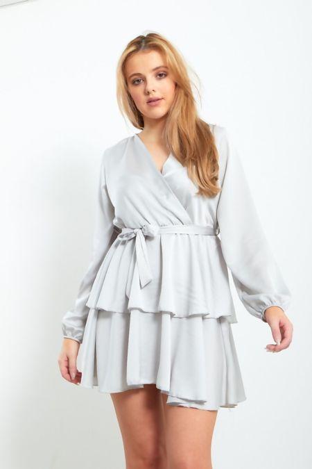 Belted Frill Smock Dress