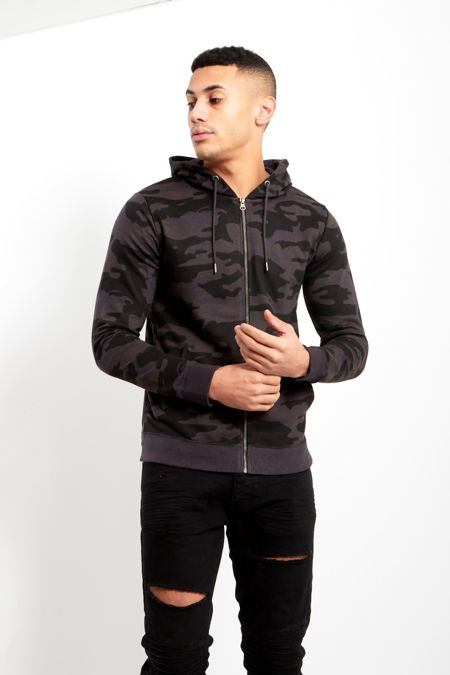 Charcoal Camo Zip Up Hood Jacket