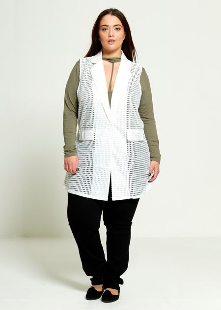 Plus Size White Fishnet Sleeveless Cardigan
