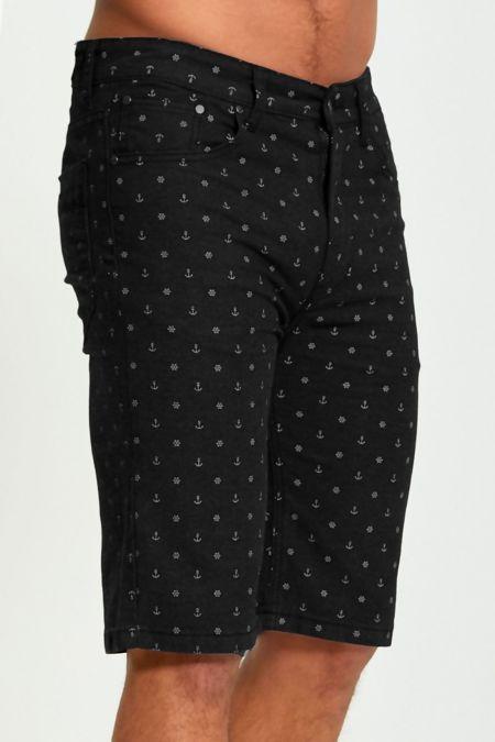 Black Anchor Print Chino Shorts