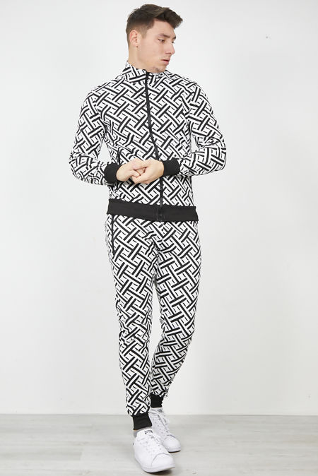 Black and White Funnel Neck Skinny Fit Tracksuit