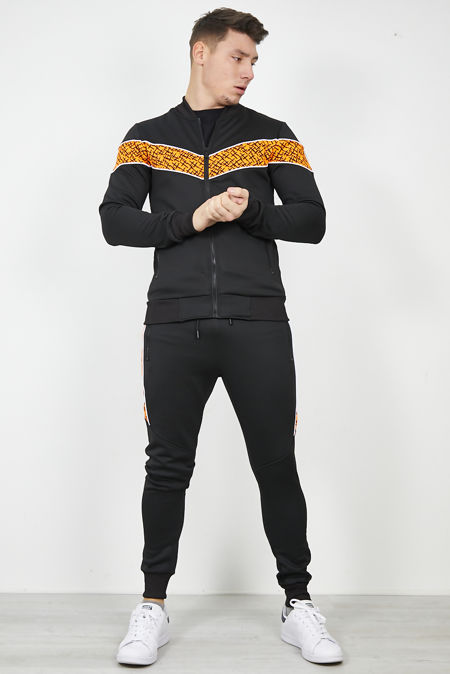 Black Baroque Tape Skinny Fit Tracksuit