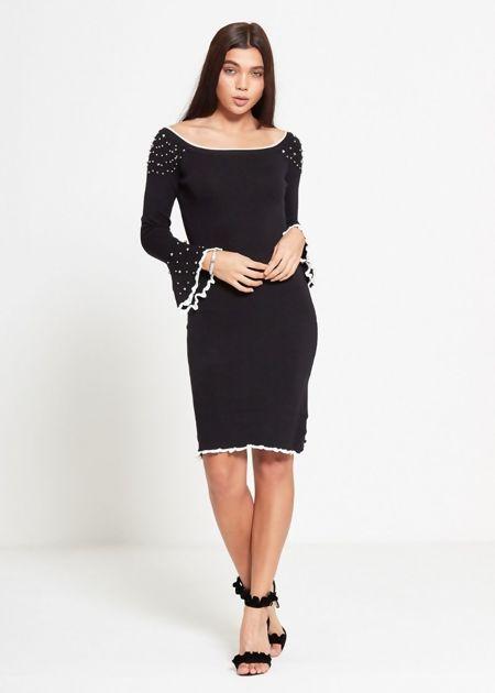 Black Bell Sleeve Studded Dress