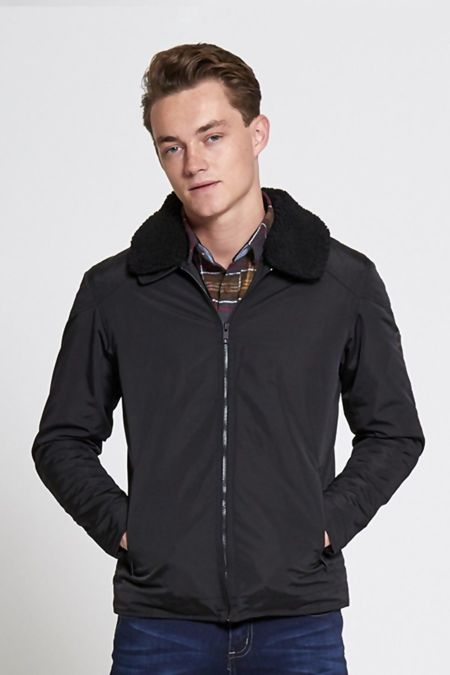 Black Borg Collar Light Weight Jacket