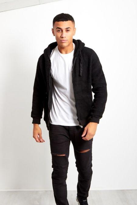 Black Borg Teddy Hood Jacket