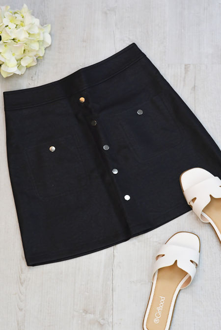 Black Button Front PU Mini Skirt