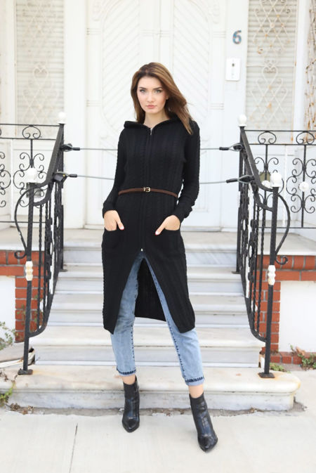 Black Cable Knit Hooded Longline Cardigan With Belt