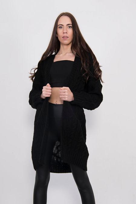 Black Cable Knit Pocket Front Cardigan