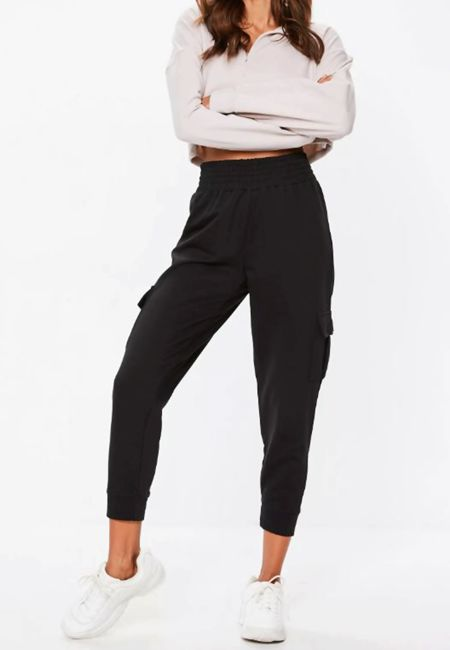 Black Cargo Mom Trouser