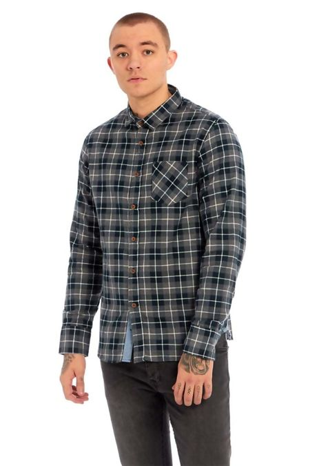 Black Chambray Trim Flannel Shirt