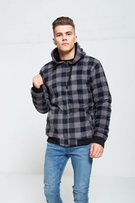 Black Checked Fleece Hood Jacket