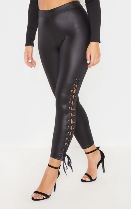 Black Coated Lace Up Leggings