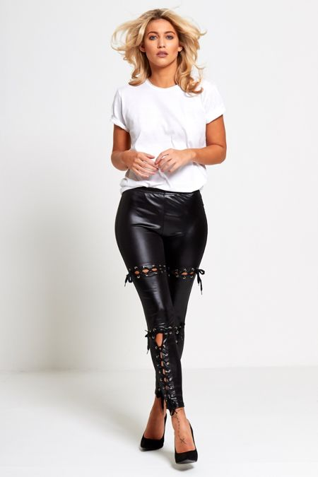 Black Coated PU Lace Up Leggings