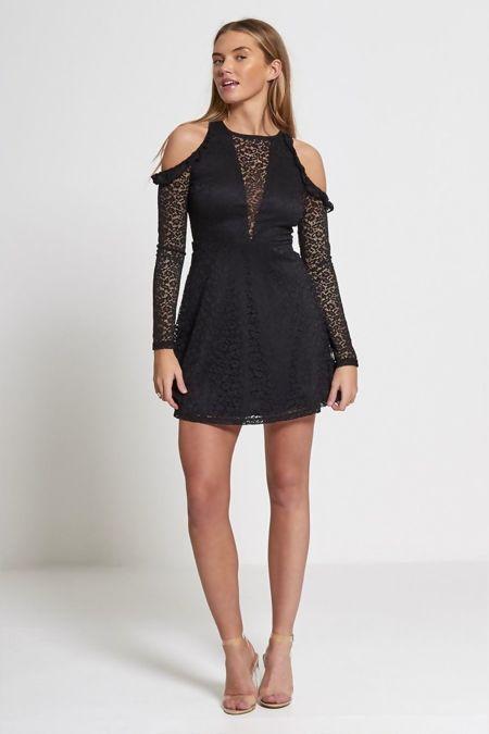 Black Cold Shoulder Lace Mini Dress