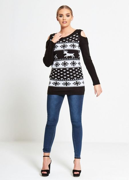 Black Cold Shoulder Reindeer Knit Jumper