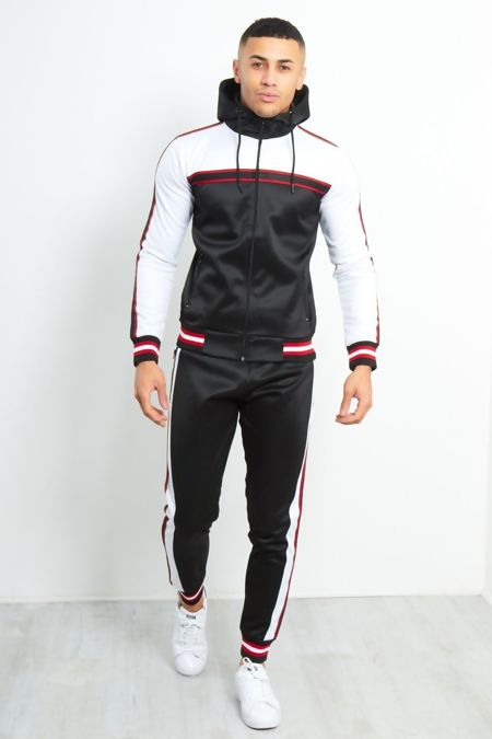 Black Colour Block Contrast Rib Tracksuit