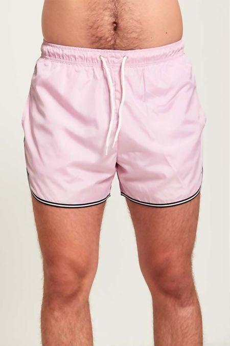 Black Contrast Pink Swim Shorts